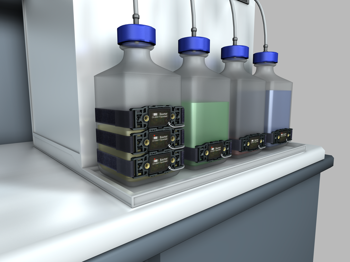 Liquid level monitoring of return flow tanks in laboratory automation